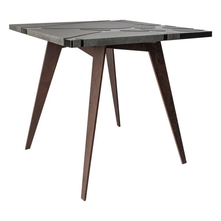 Italian Contemporary Outdoor Square Table in Lava Stone and Steel, Filodifumo For Sale
