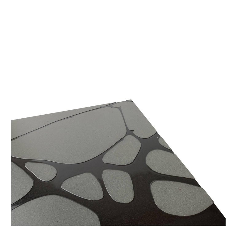 Enameled Contemporary Outdoor Square Table in Lava Stone and Steel, Filodifumo For Sale