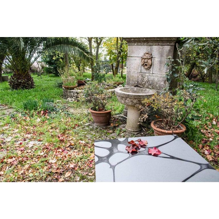 Contemporary Outdoor Square Table in Lava Stone and Steel, Filodifumo For Sale 1