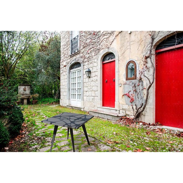 Contemporary Outdoor Table in Lava Stone and Steel, Venturae v3, Filodifumo For Sale 5
