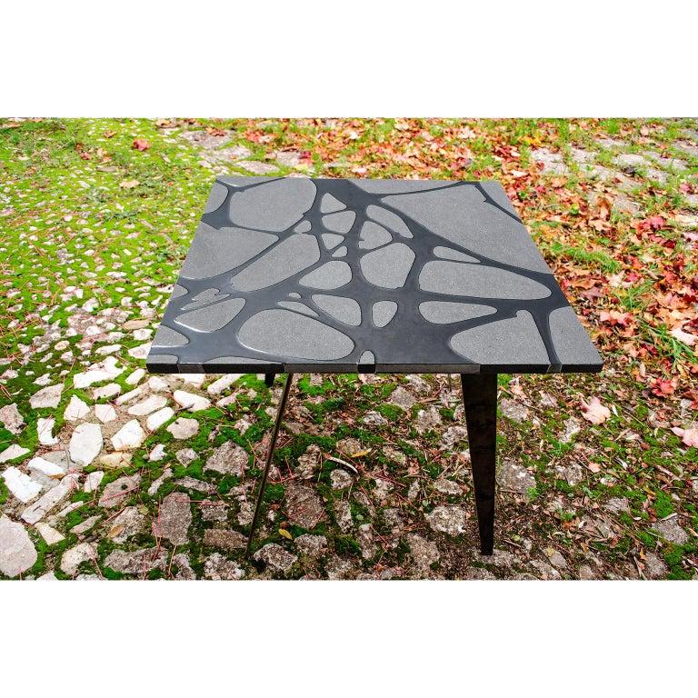 Contemporary Outdoor Table in Lava Stone and Steel, Venturae v3, Filodifumo For Sale 6