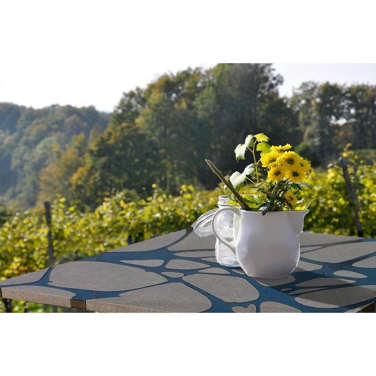 Contemporary Outdoor Table in Lava Stone and Steel, Venturae v3, Filodifumo For Sale 7