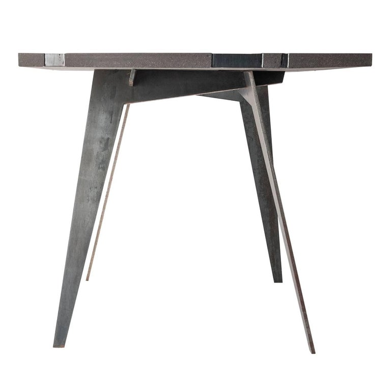 Modern Contemporary Outdoor Table in Lava Stone and Steel, Venturae v3, Filodifumo For Sale
