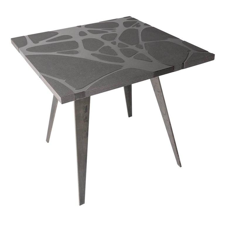 Italian Contemporary Outdoor Table in Lava Stone and Steel, Venturae v3, Filodifumo For Sale