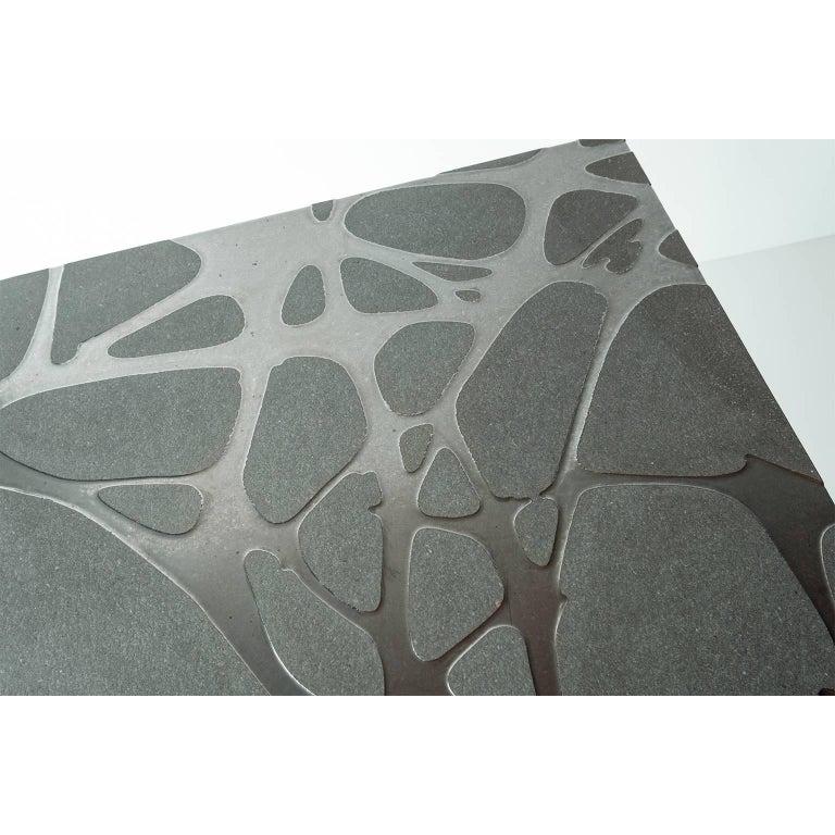 Contemporary Outdoor Table in Lava Stone and Steel, Venturae v3, Filodifumo In New Condition For Sale In Palermo, IT