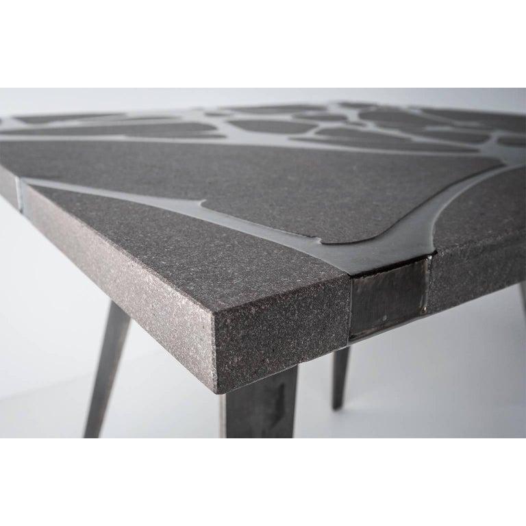 Contemporary Outdoor Table in Lava Stone and Steel, Venturae v3, Filodifumo For Sale 1