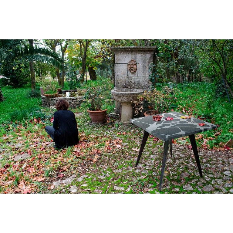 Contemporary Outdoor Table in Lava Stone and Steel, Venturae v3, Filodifumo For Sale 2