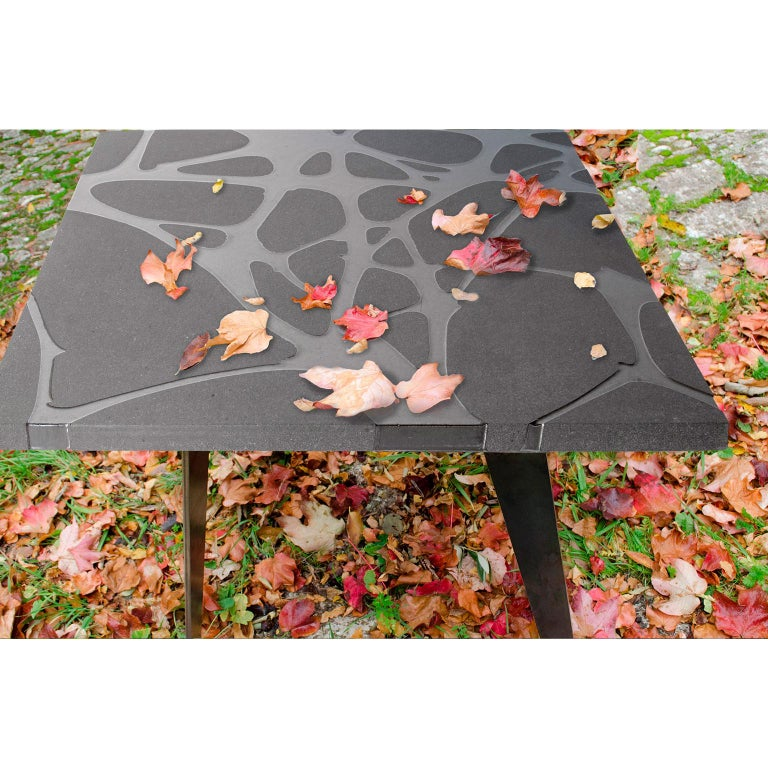 Contemporary Outdoor Table in Lava Stone and Steel, Venturae v3, Filodifumo For Sale 3