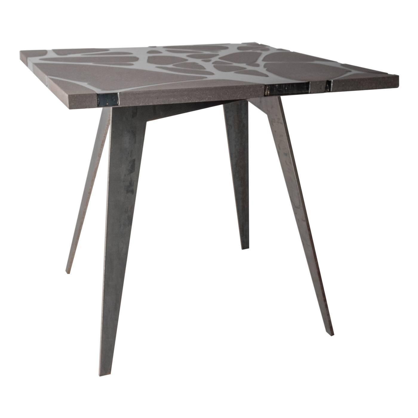 Contemporary Outdoor Table in Lava Stone and Steel, Venturae v3, Filodifumo