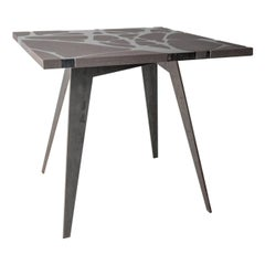 Contemporary Outdoor Table in Lava Stone and Steel, Venturae v3, Filodifumo