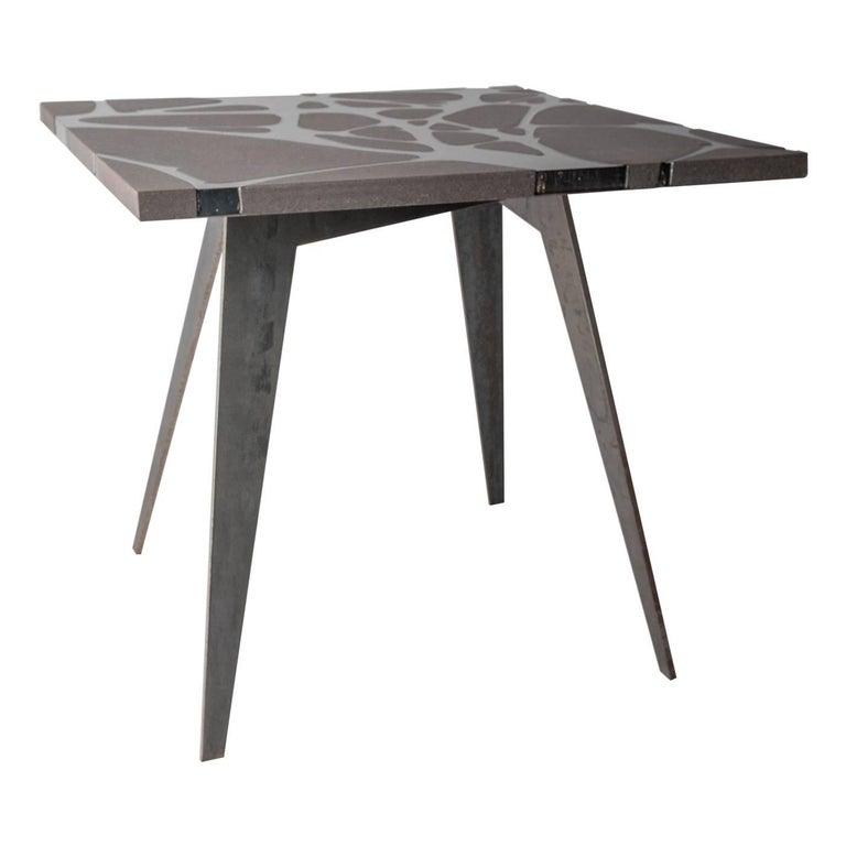 Contemporary Outdoor Table in Lava Stone and Steel, Venturae v3, Filodifumo For Sale