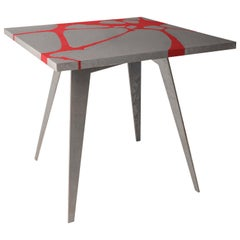 Contemporary Outdoor Table in Lava Stone, Venturae V2, Filodifumo, Red Inlay