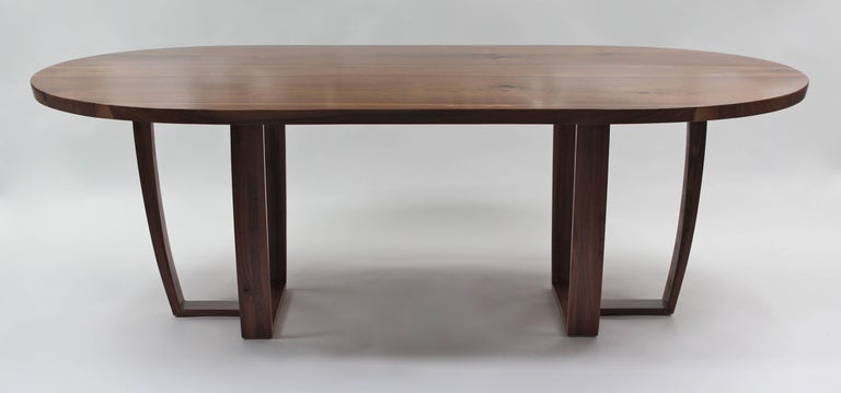 Carved Contemporary Oval Dining Table in Bookmatched American Black Walnut, Bespoke For Sale