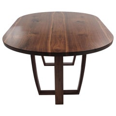 Contemporary Oval Dining Table in Bookmatched American Black Walnut, Bespoke
