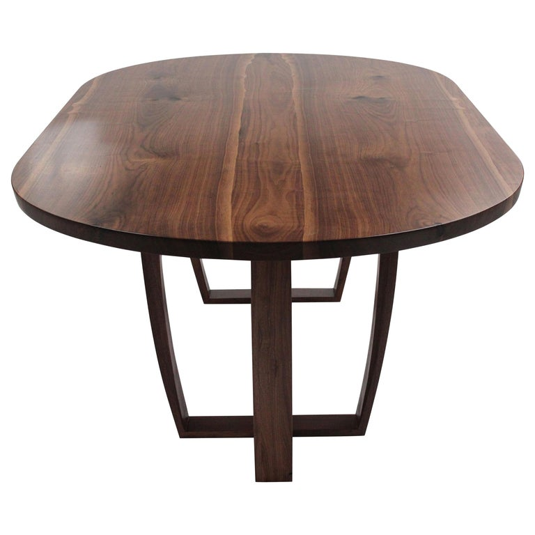 Contemporary Oval Dining Table in Bookmatched American Black Walnut, Bespoke For Sale