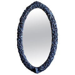 Contemporary Oval Sculpted Mirror in Slate Grey by Margit Wittig