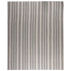 Contemporary Oversized Gray Stripped Flat-Woven Wool Rug