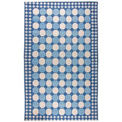 Contemporary Oversized Indian Dhurrie Blue and White Handmade Rug