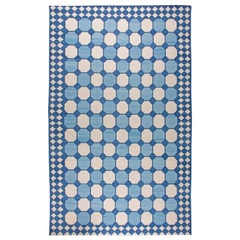 Contemporary Oversized Indian Dhurrie Blue and White Rug