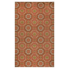 "Contemporary Oversized ""Insolite"" Coral Red, Brown Green and Gray Wool Rug"