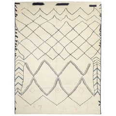 Contemporary Oversized Moroccan Area Rug with Line Art Design and Tribal Style