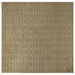 Contemporary Oversized Moroccan Geometric Hand Knotted Wool Rug