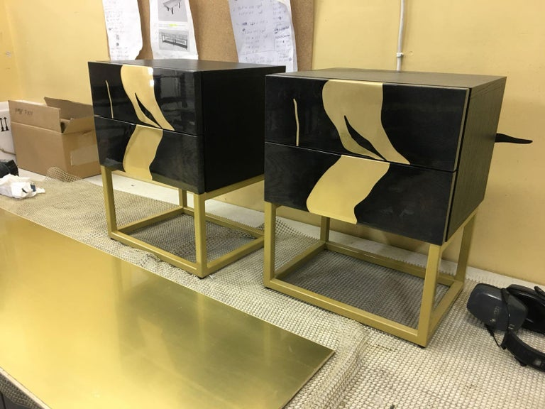 Contemporary Oxara Bedside Table Or Nightstand With Gold