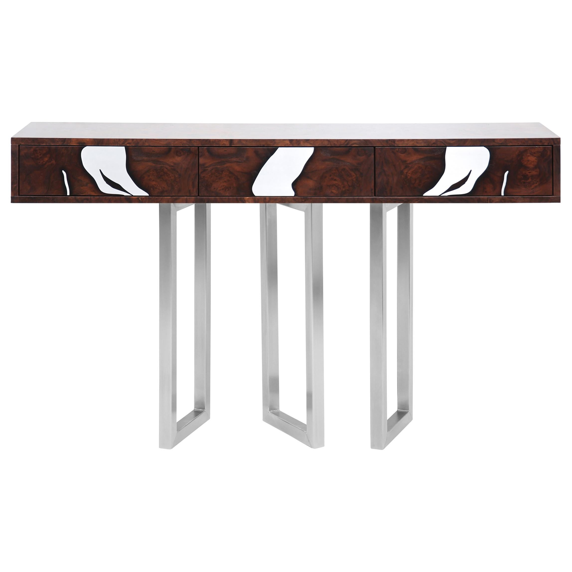 Contemporary Oxara Console Table in Walnut Root, Stainless Steel