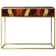Contemporary Oxara Console Table with Oak Veneer in Brass, Copper Inlay
