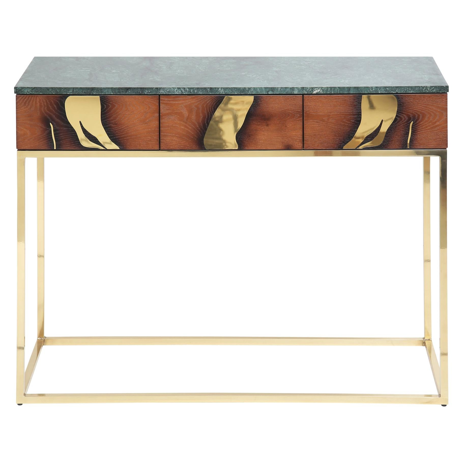 Contemporary Oxara Console Table with Oak Veneer in Brass, Marble