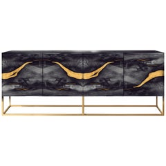 Contemporary Oxara Sideboard in Brass , Oak