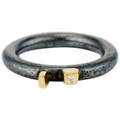 Contemporary Oxidized Sterling Silver, Yellow Gold and Diamond Cubist Band Ring