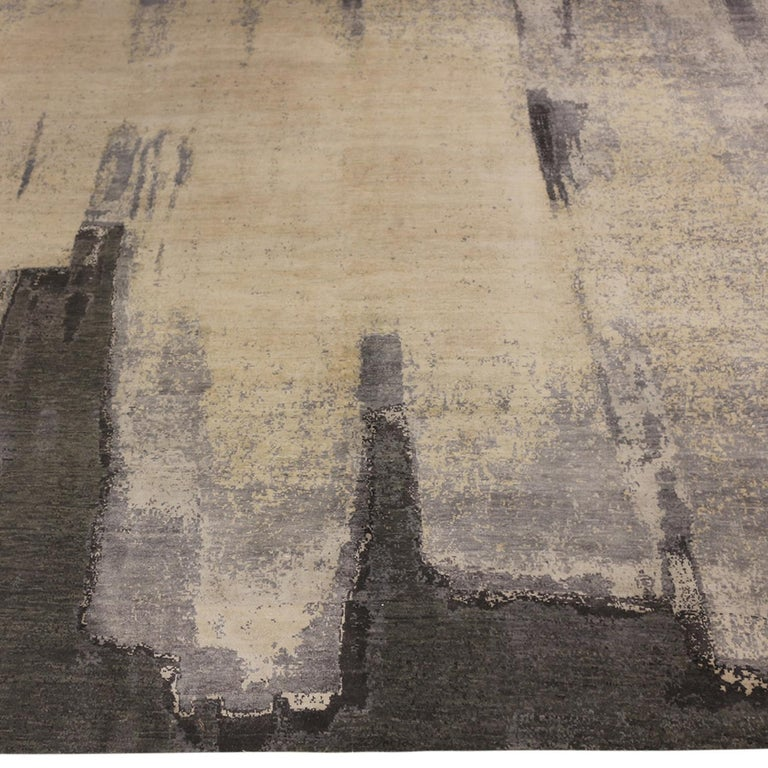 Indian Contemporary Paint Strokes White and Gray Wool and Silk Rug For Sale