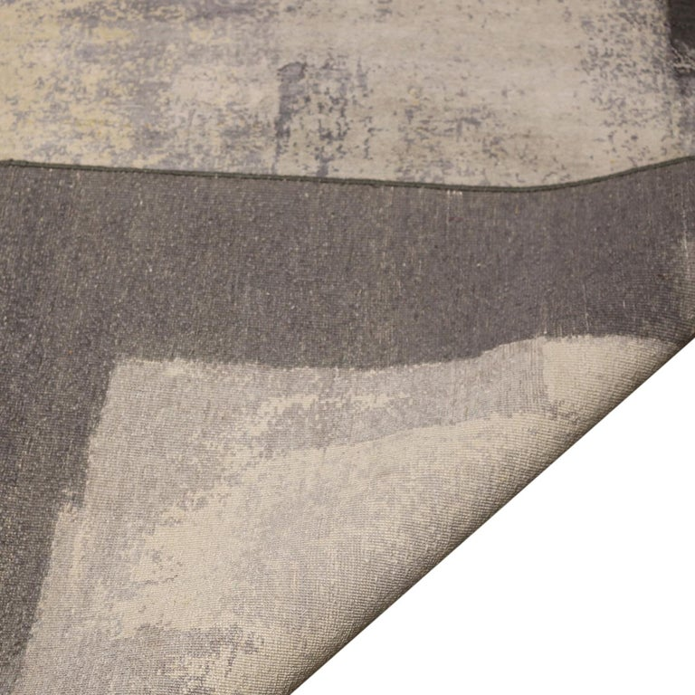 Hand-Knotted Contemporary Paint Strokes White and Gray Wool and Silk Rug For Sale