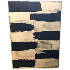 Contemporary Black and Cream Abstract Painting by Artist Louise Cara, France