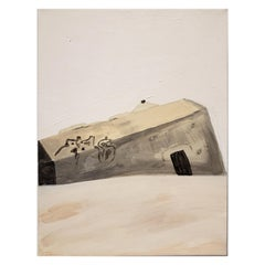 Contemporary Painting of Beach Bunker Ruin by Lionel Lamy