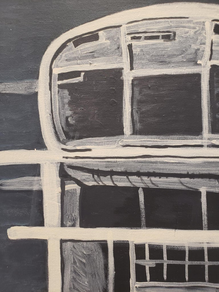 Minimal/sparse painting of a strange Brutalist structure by artist Lionel Lamy rendered in shades of tan, gray and black. Acrylic on canvas. Measures 24