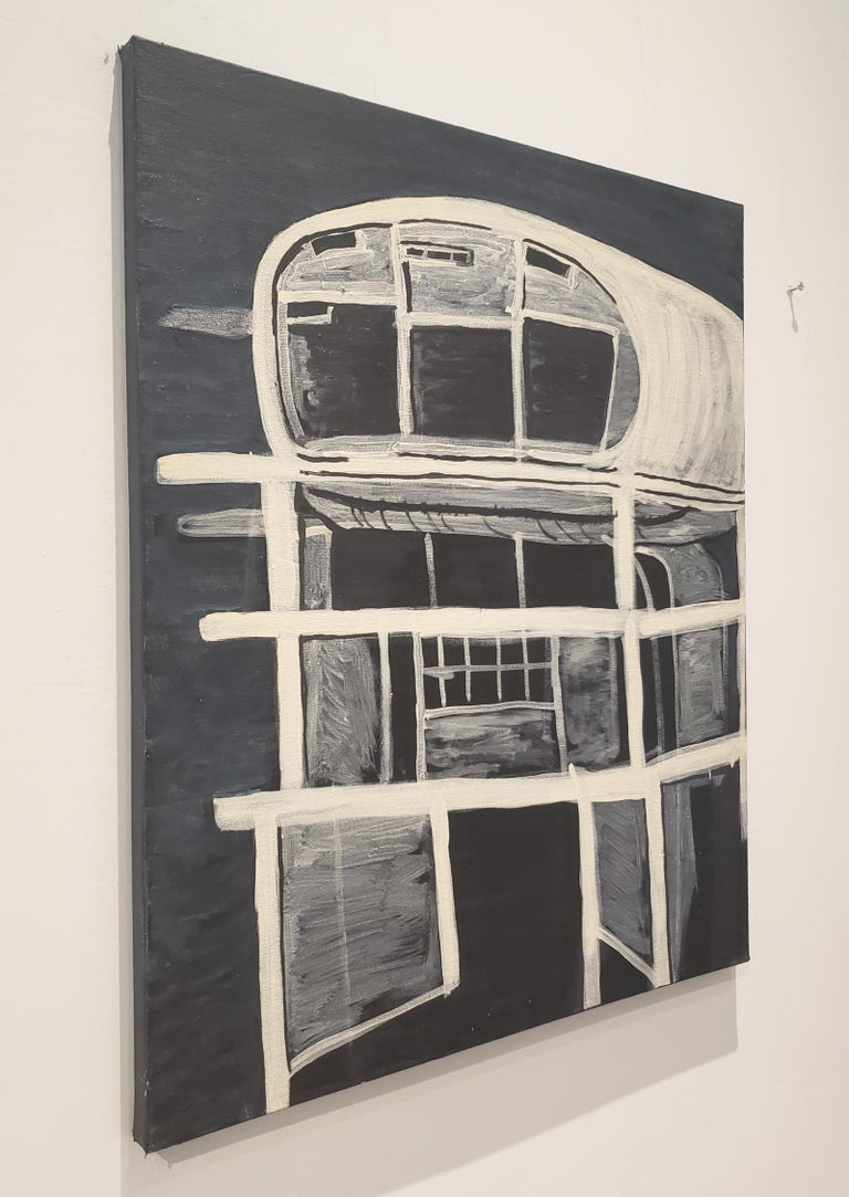 Hand-Painted Contemporary Painting of Brutalist Building Ruin by Lionel Lamy For Sale