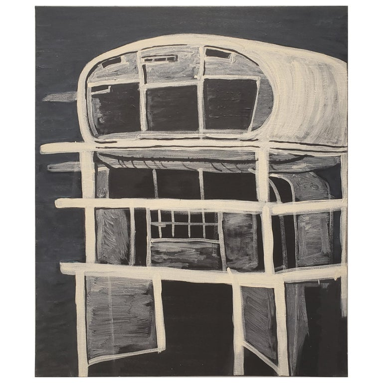 Contemporary Painting of Brutalist Building Ruin by Lionel Lamy For Sale