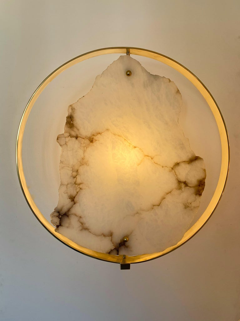 Italian Contemporary Pair of Alabaster Circle Brass Sconces, Italy For Sale