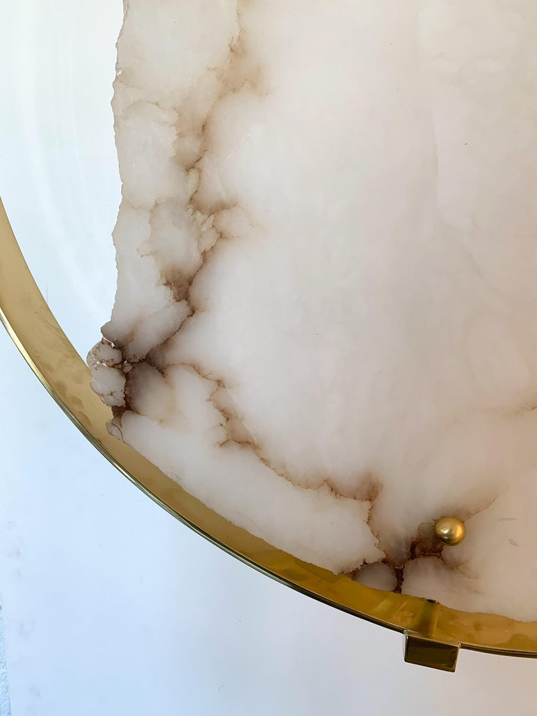 Contemporary Pair of Alabaster Circle Brass Sconces, Italy For Sale 3