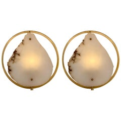 Contemporary Pair of Alabaster Circle Brass Sconces, Italy