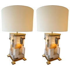Contemporary Pair of Alabaster Gilt Metal Cubismi Lamps by Cagianelli, Italy