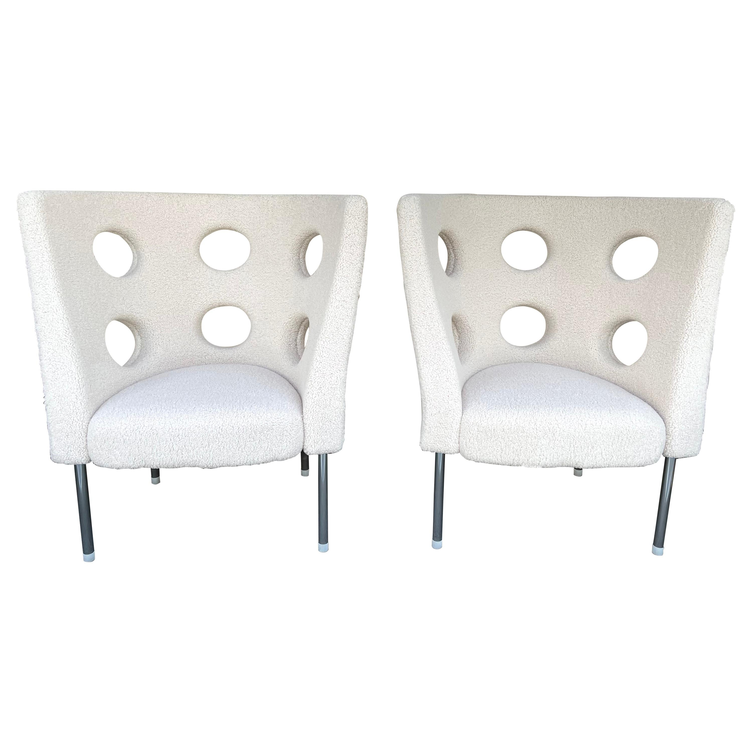 Contemporary Pair of Armchairs Bouclé Fabric by Paolo Rizzatto, Italy
