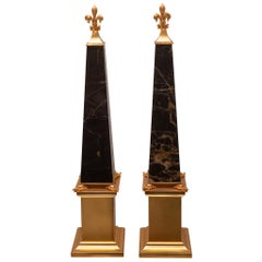 Contemporary Pair of Black & Gold St. Laurent Marble and Bronze Obelisks