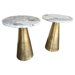 Contemporary Pair of Brass and Marble Side Table, Italy