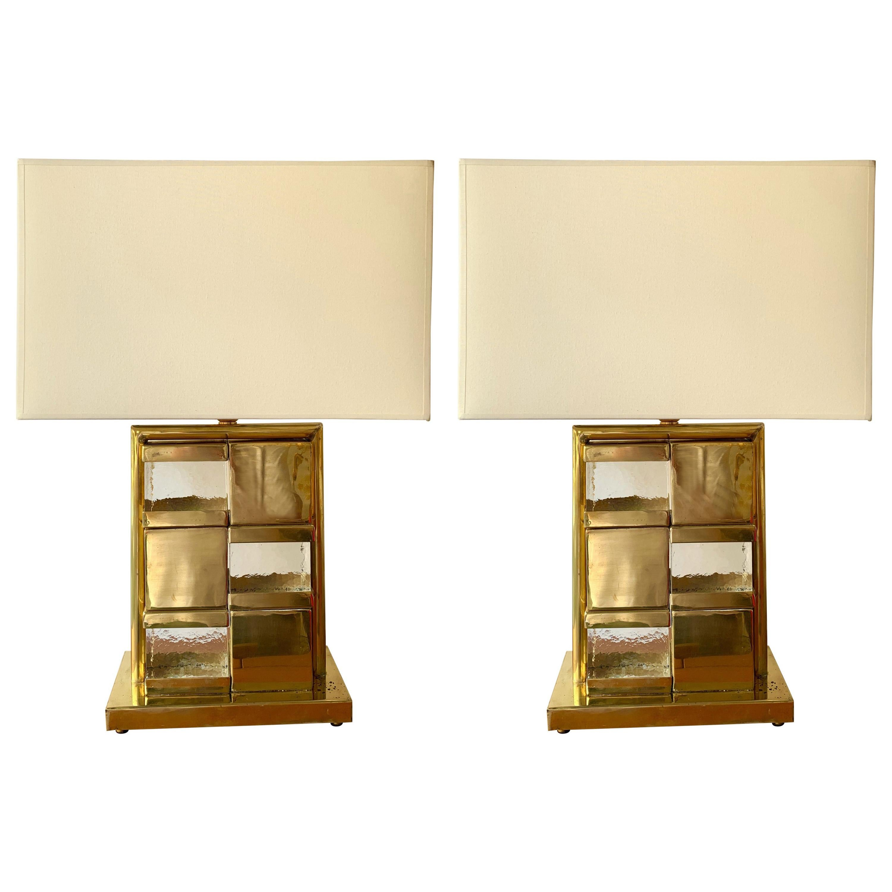 Contemporary Pair of Brass and Murano Glass Checkerboard Lamps