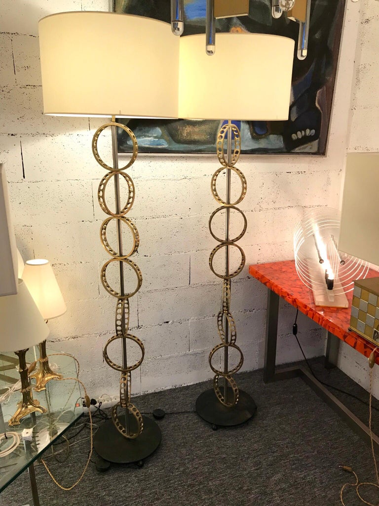 Contemporary Pair of Brass Circle Floor Lamp, France For Sale 5