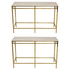 Contemporary Pair of Brass Consoles with Onyx Tops