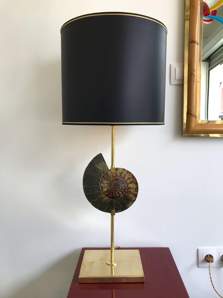 Mid-Century Modern Contemporary Pair of Brass Lamps Ammonite Fossil, Italy For Sale